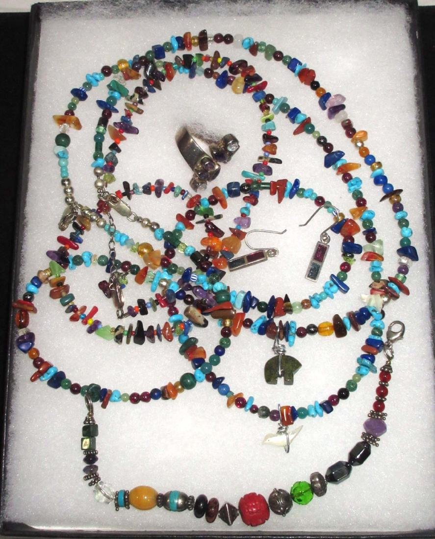 Sterling Mexican Multi Stone Jewelry