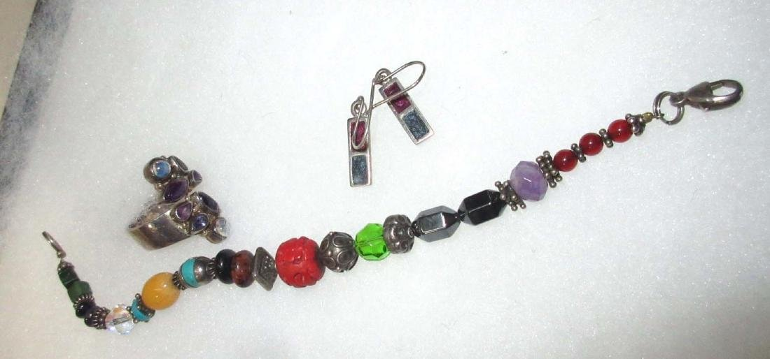 Sterling Mexican Multi Stone Jewelry - 6