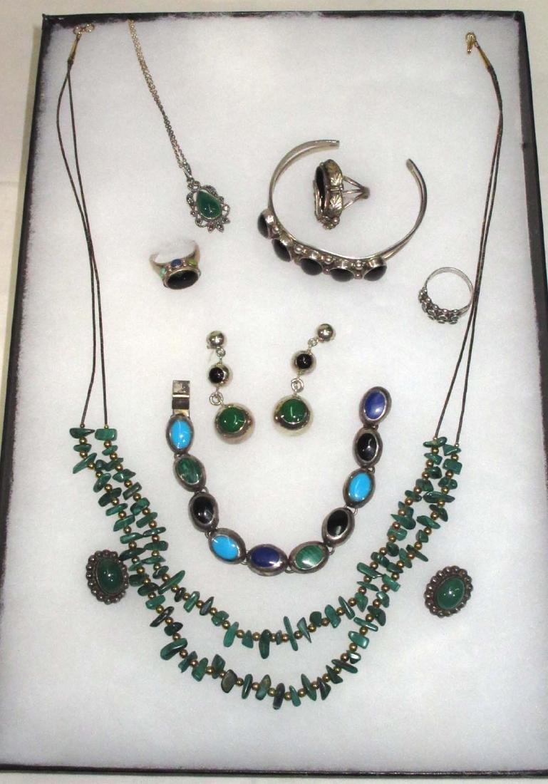 Sterling w/ Malachite, Onyx & Turquoise Jewelry