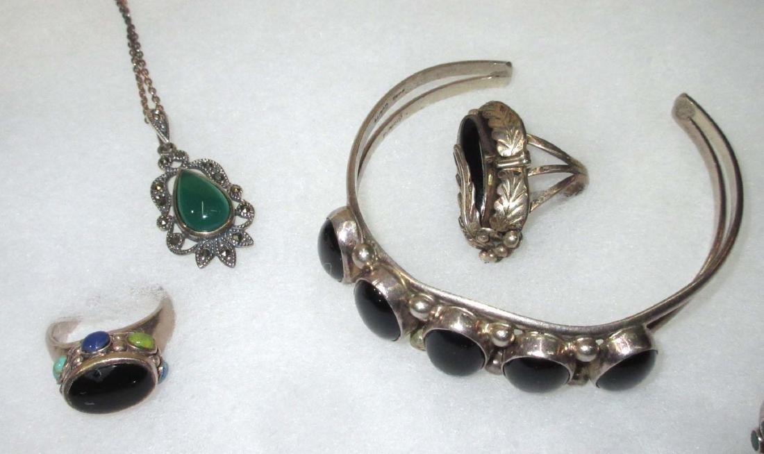 Sterling w/ Malachite, Onyx & Turquoise Jewelry - 2