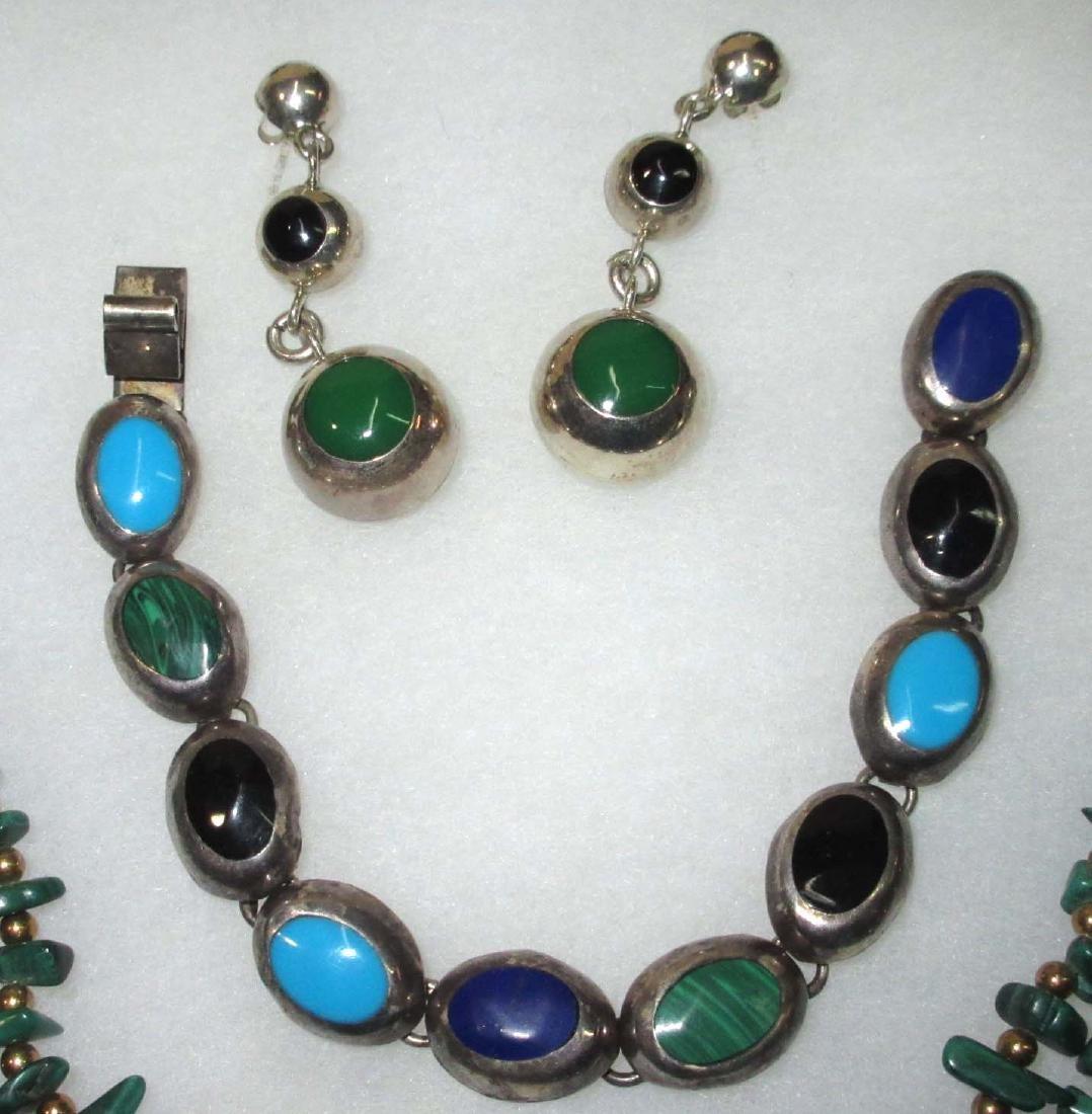 Sterling w/ Malachite, Onyx & Turquoise Jewelry - 3