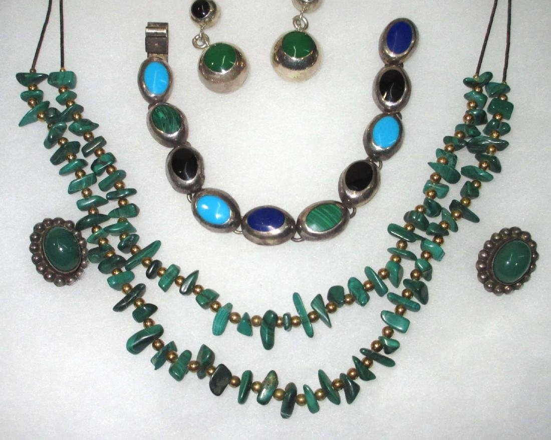 Sterling w/ Malachite, Onyx & Turquoise Jewelry - 4