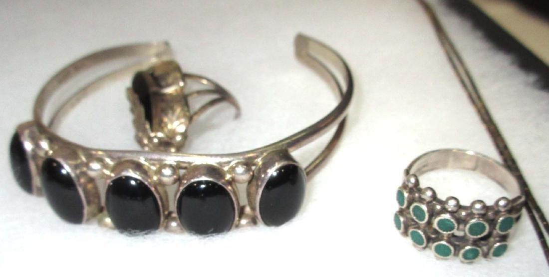 Sterling w/ Malachite, Onyx & Turquoise Jewelry - 6