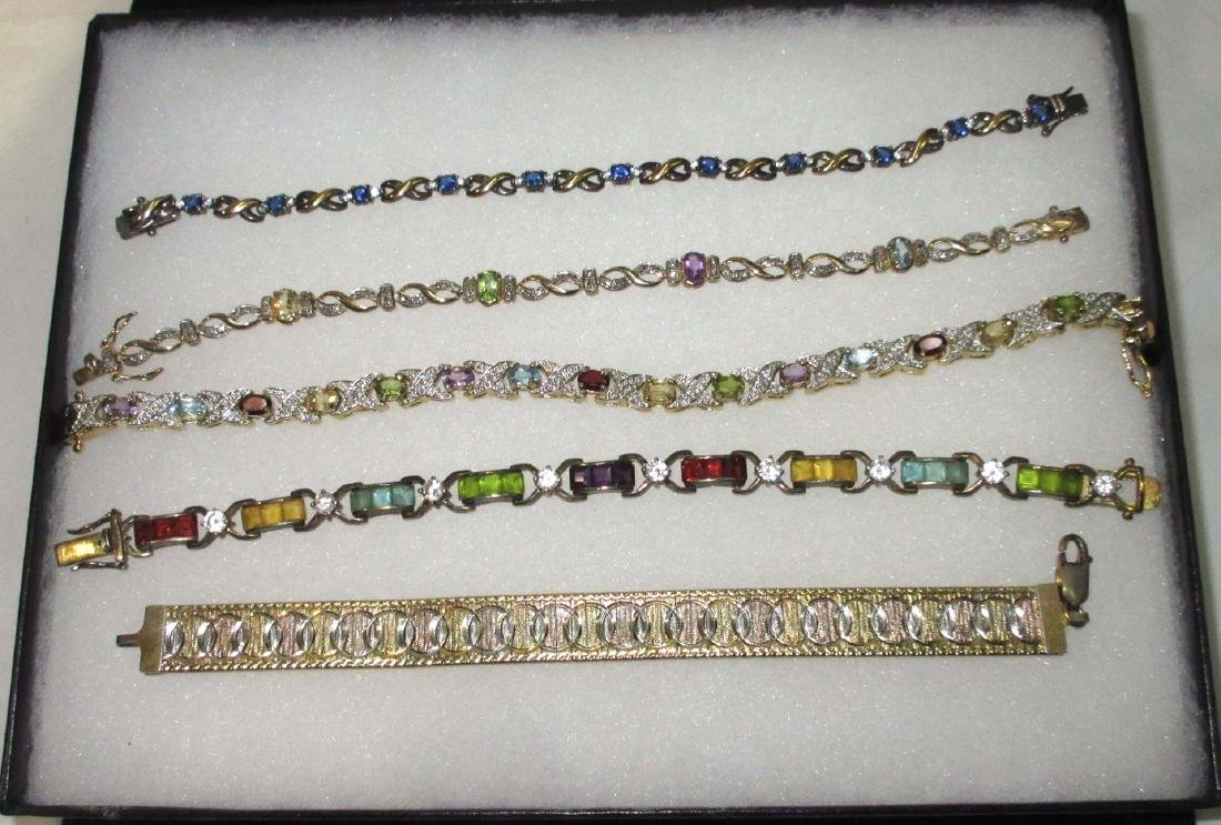 5 Sterling & Multi Stone Bracelets