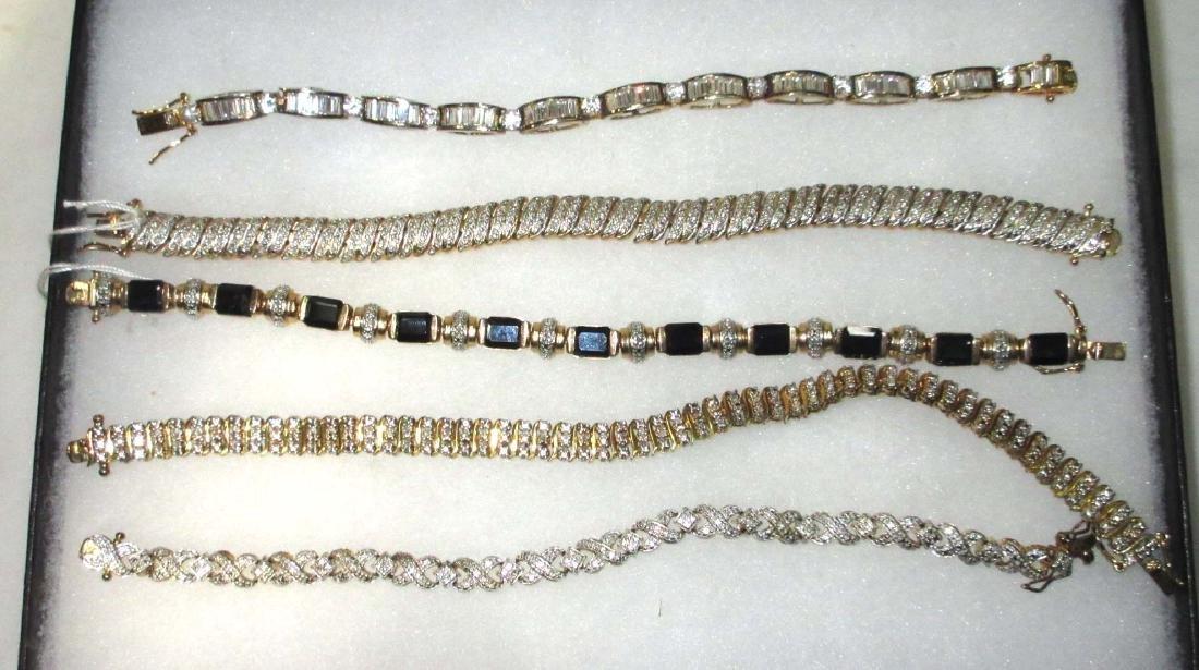 5 Sterling Rhinestone, Crystal & Sapphire Bracelets