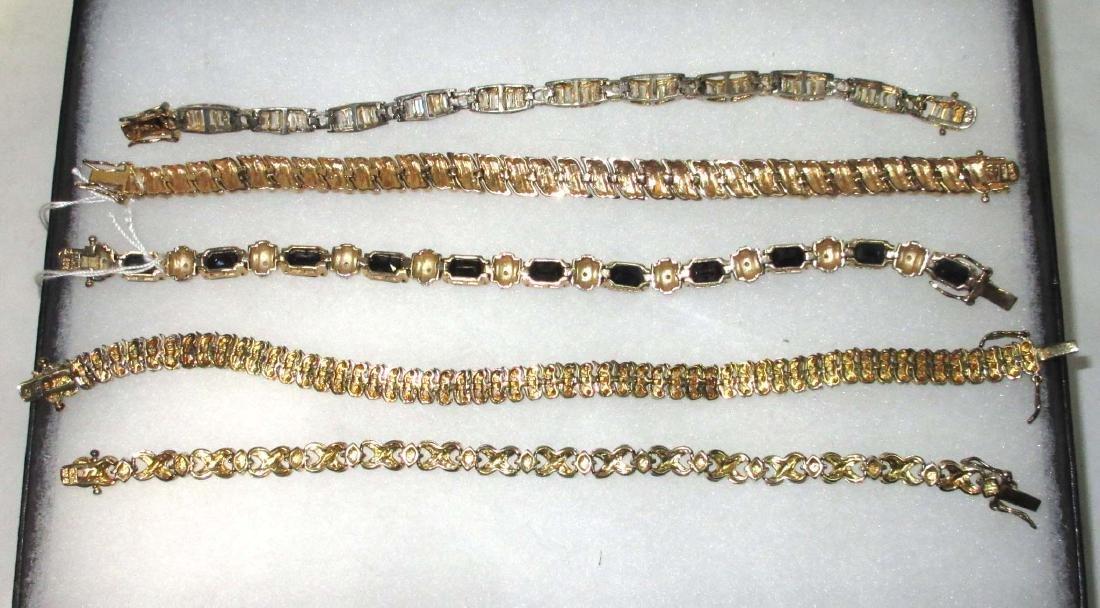 5 Sterling Rhinestone, Crystal & Sapphire Bracelets - 2