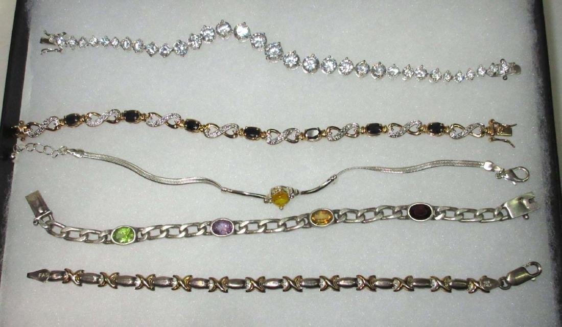 5 Sterling Multi Stone Bracelets