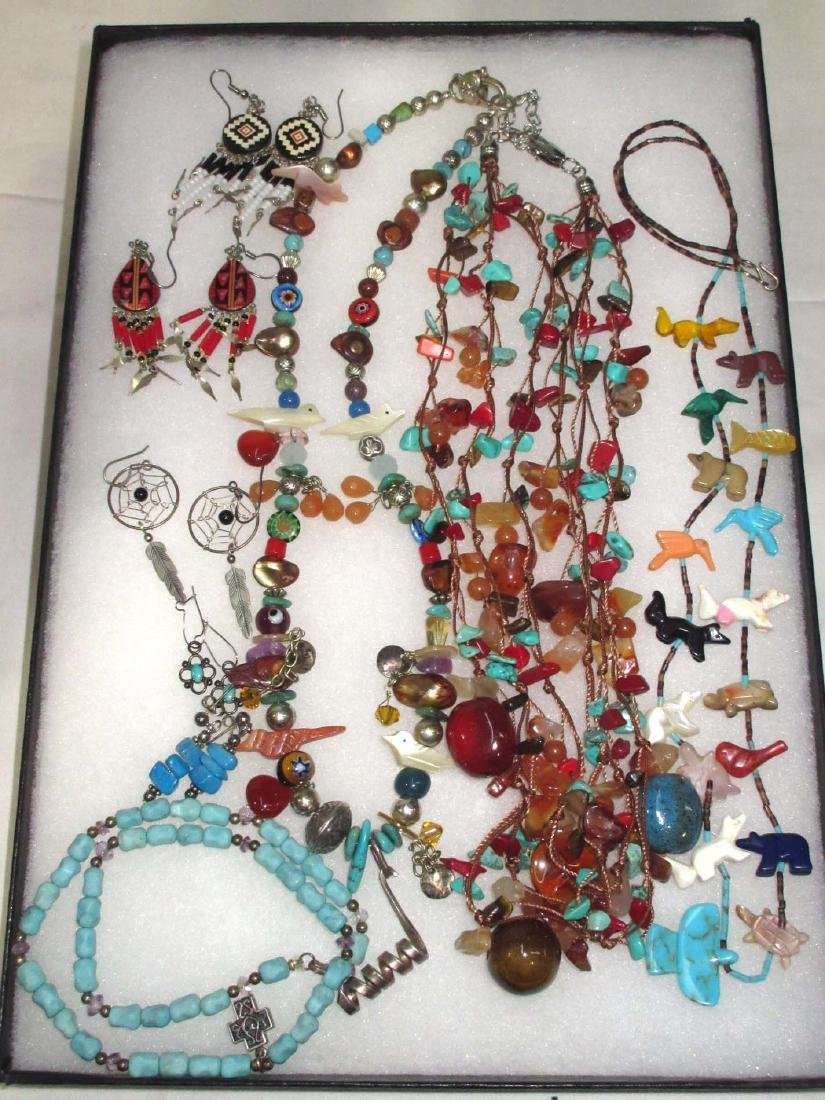 Lot of Multi Stone Fetish Necklaces & Navajo Style