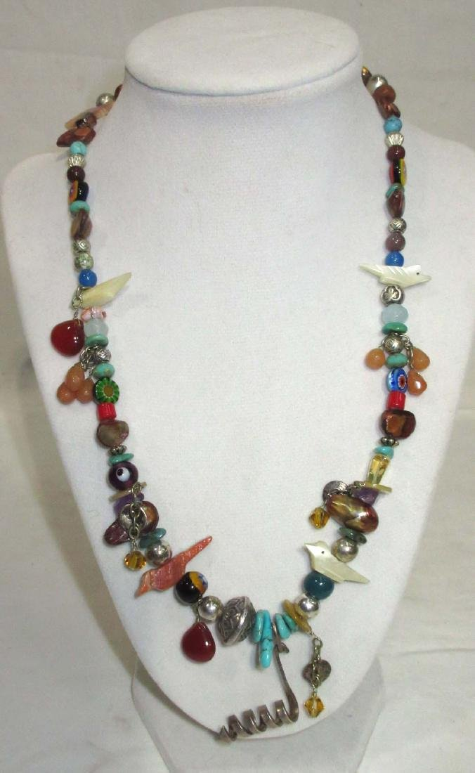 Lot of Multi Stone Fetish Necklaces & Navajo Style - 5