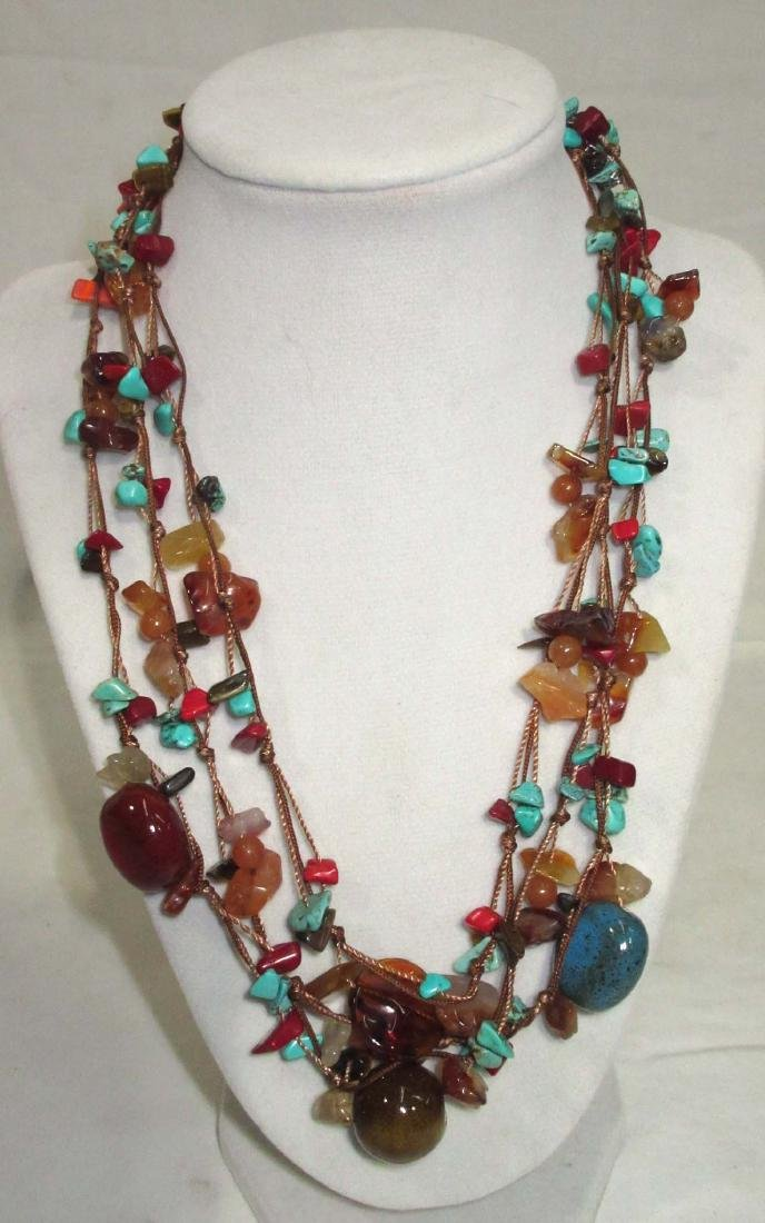 Lot of Multi Stone Fetish Necklaces & Navajo Style - 6