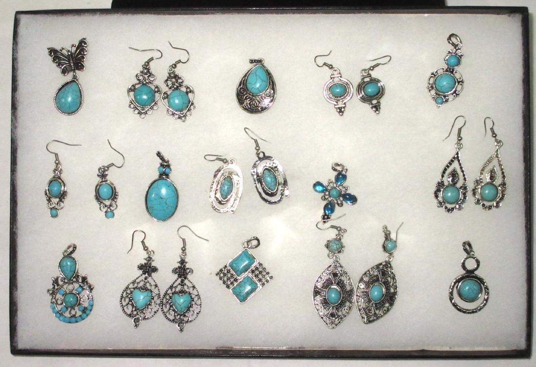 Faux Turquoise Earrings & Pendants
