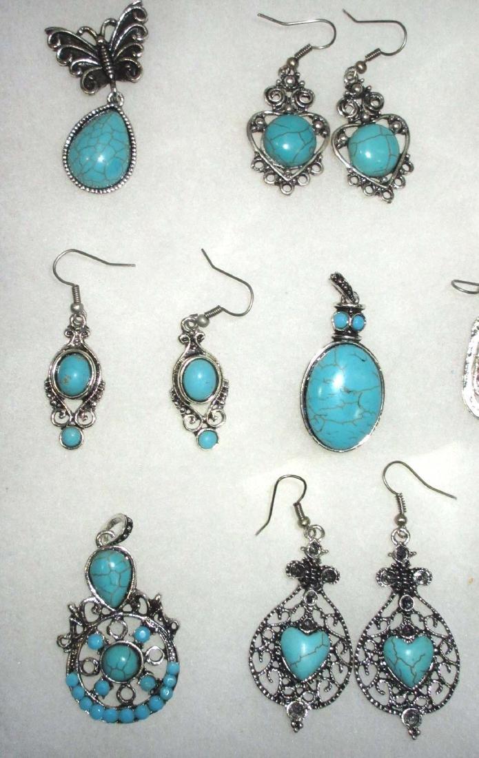 Faux Turquoise Earrings & Pendants - 2