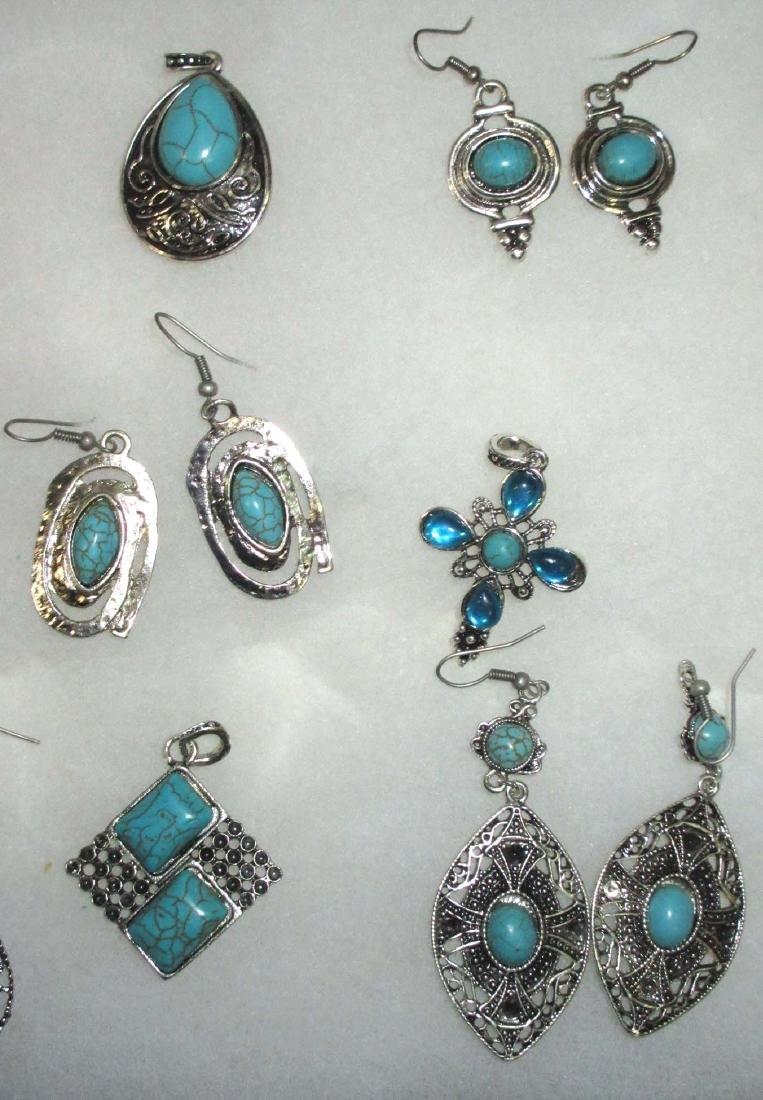 Faux Turquoise Earrings & Pendants - 3