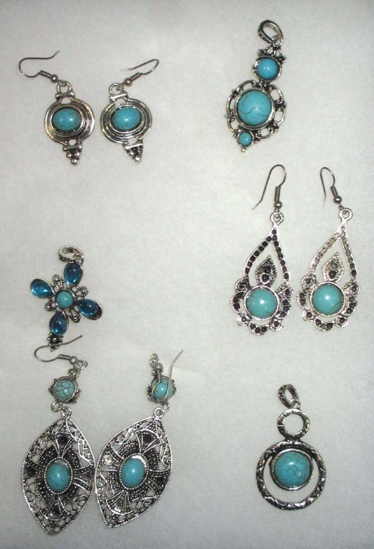 Faux Turquoise Earrings & Pendants - 4