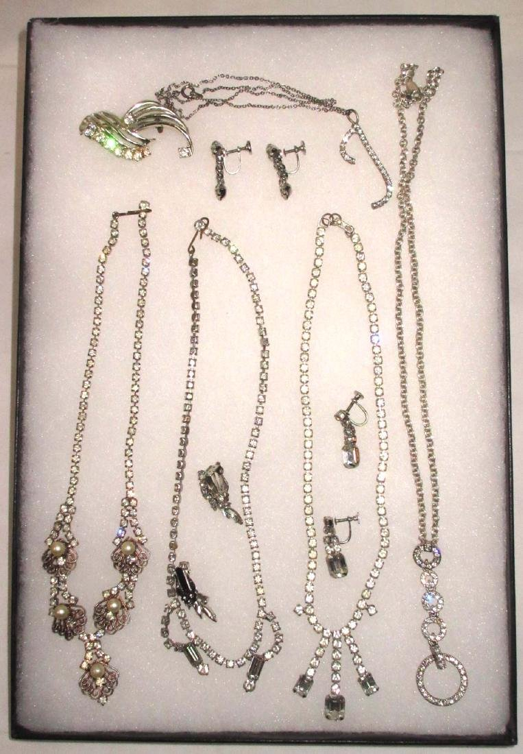 Lot of Rhinestone Necklaces, Earrings & Pin
