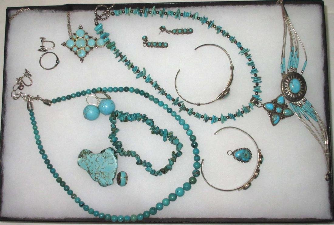 14pc Sterling & Turquoise Jewelry