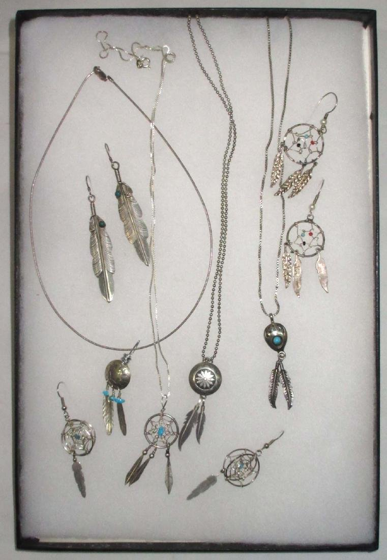Sterling, Turquoise & Feather Jewelry