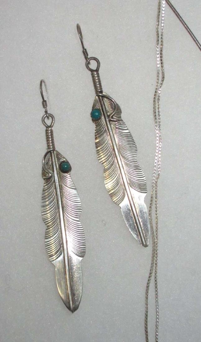 Sterling, Turquoise & Feather Jewelry - 2