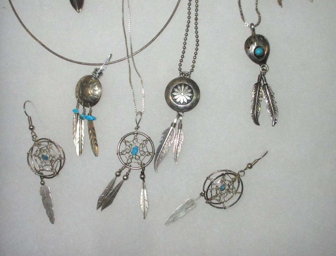 Sterling, Turquoise & Feather Jewelry - 4