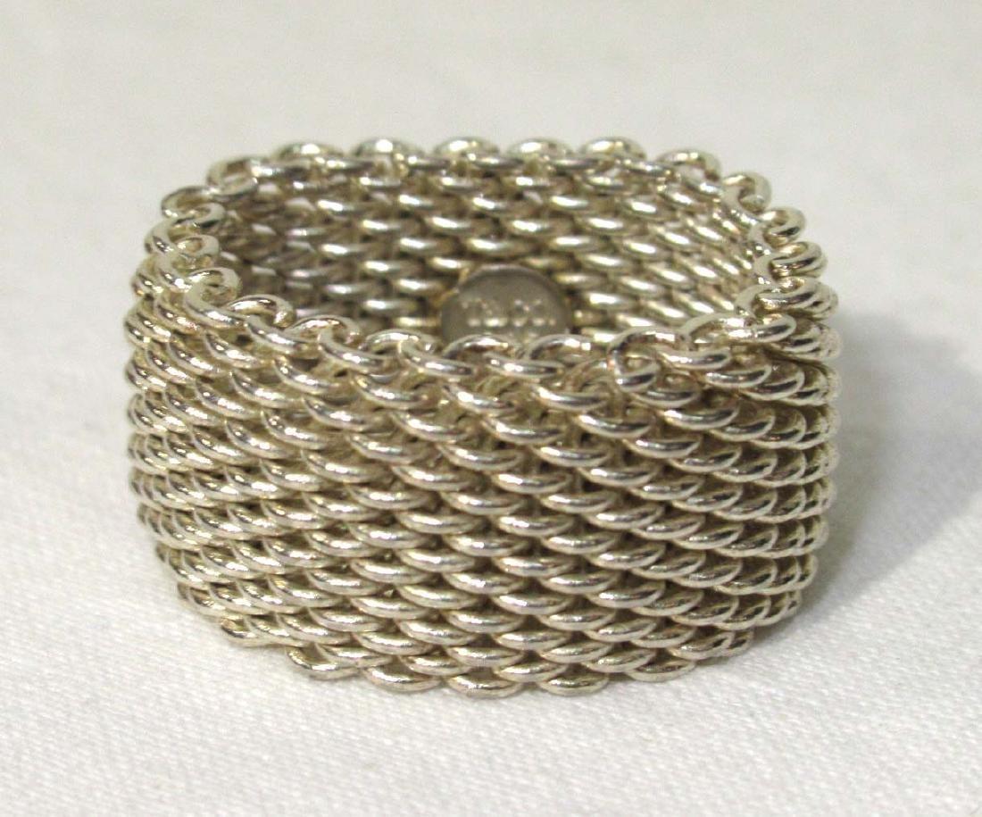 Tiffany & Co. Sterling Somerset Mesh Ring - 2