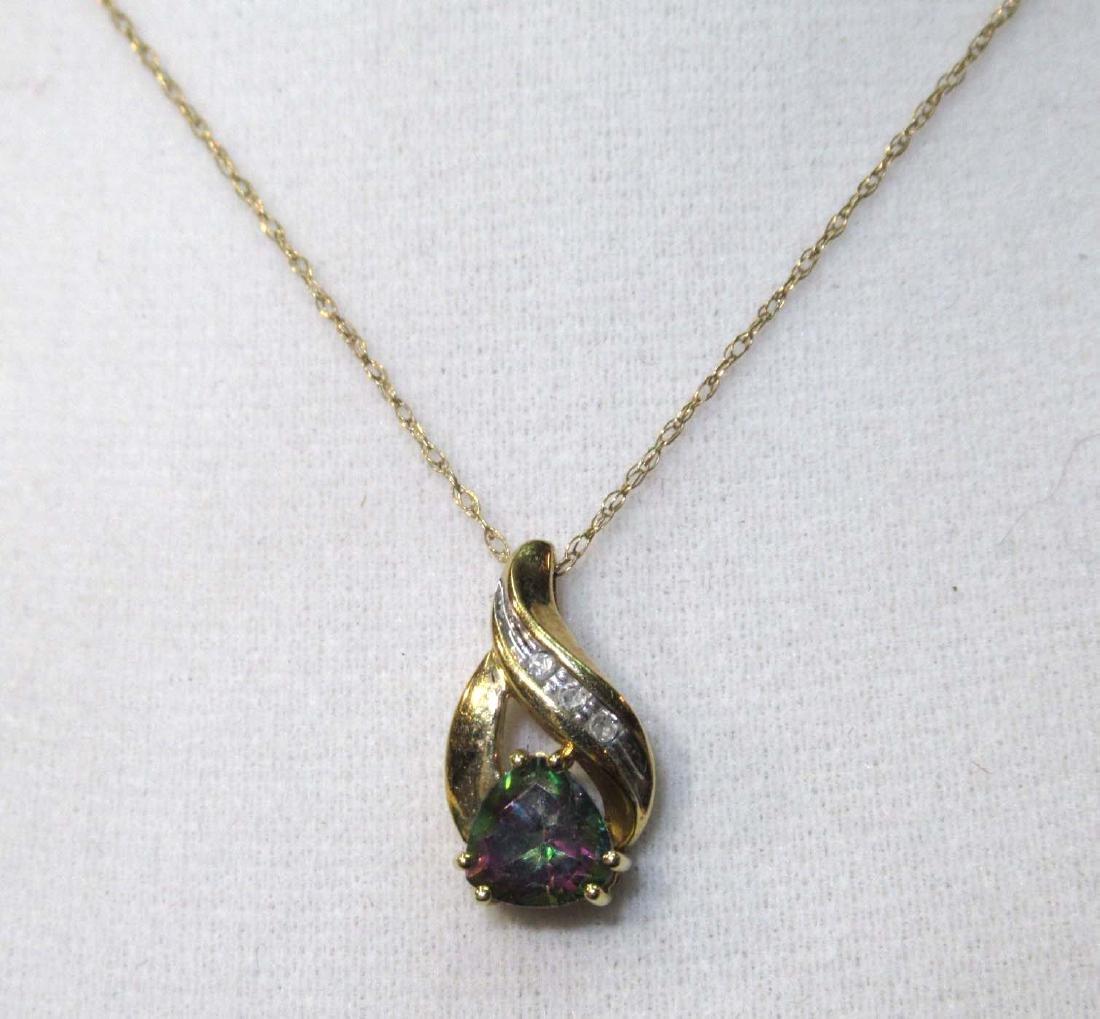 10K Topaz & Diamond Necklace
