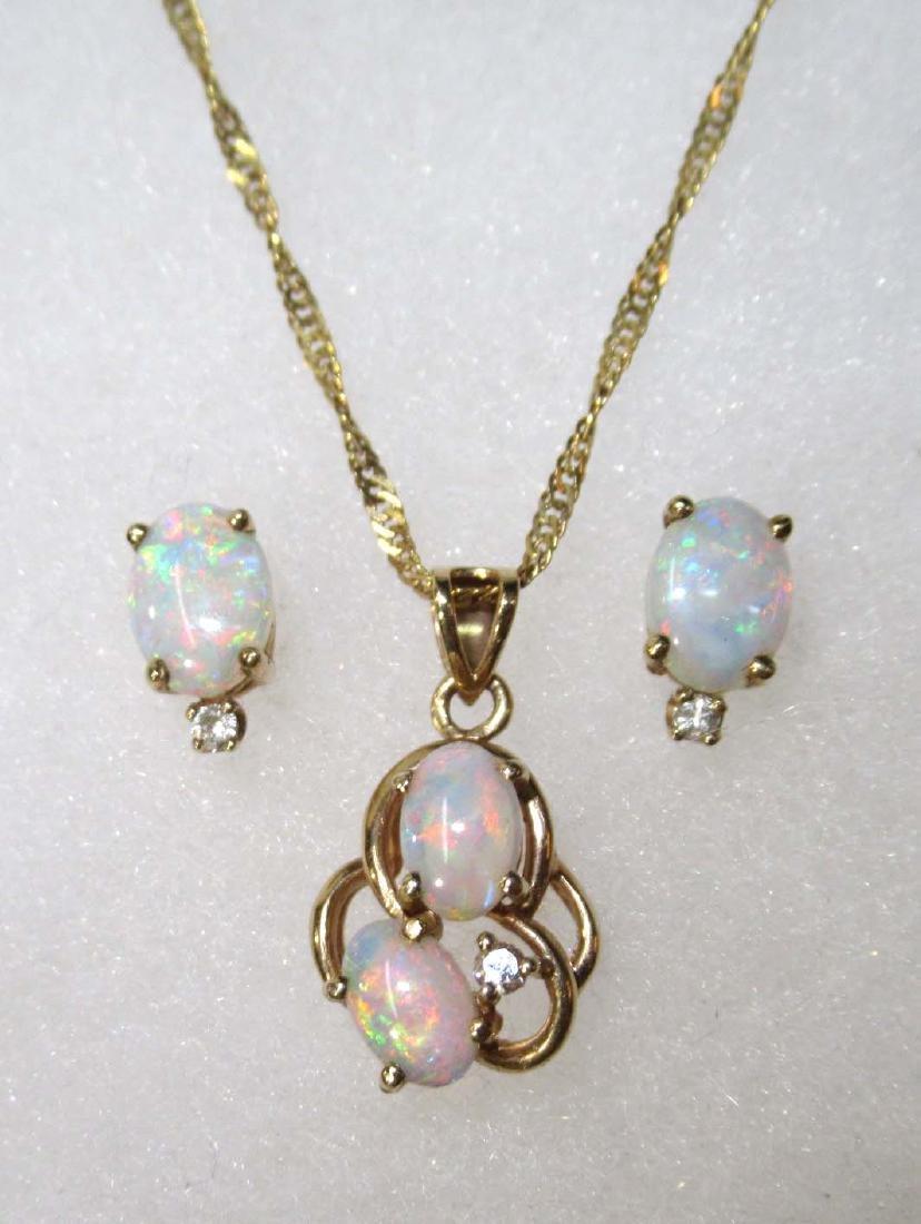 14K Opal & Diamond Necklace & Earrings