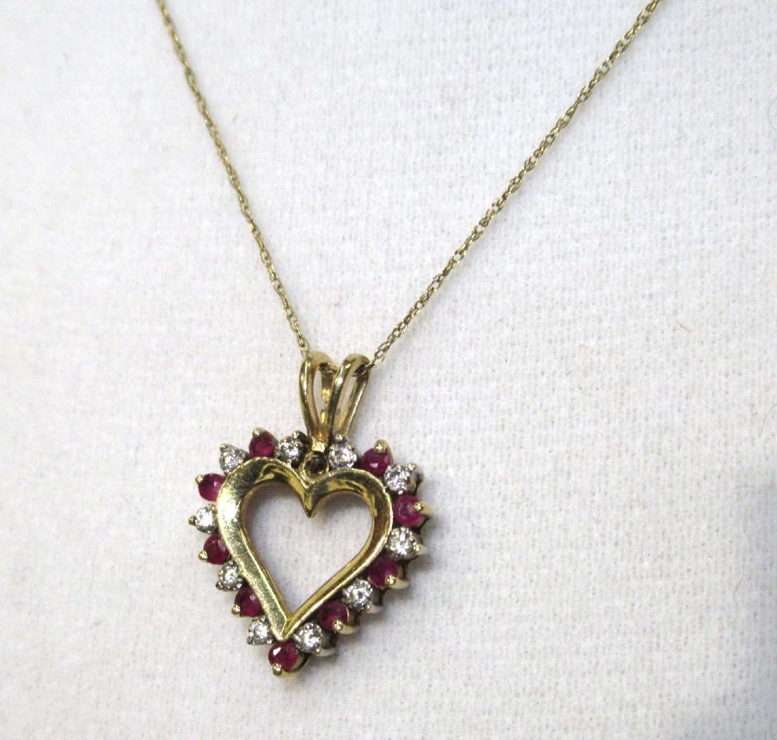 10K Ruby & Diamond Heart Necklace
