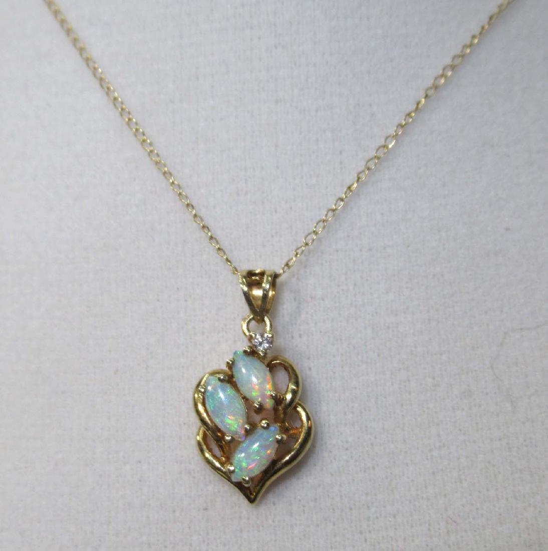 14K Opal & Diamond Necklace