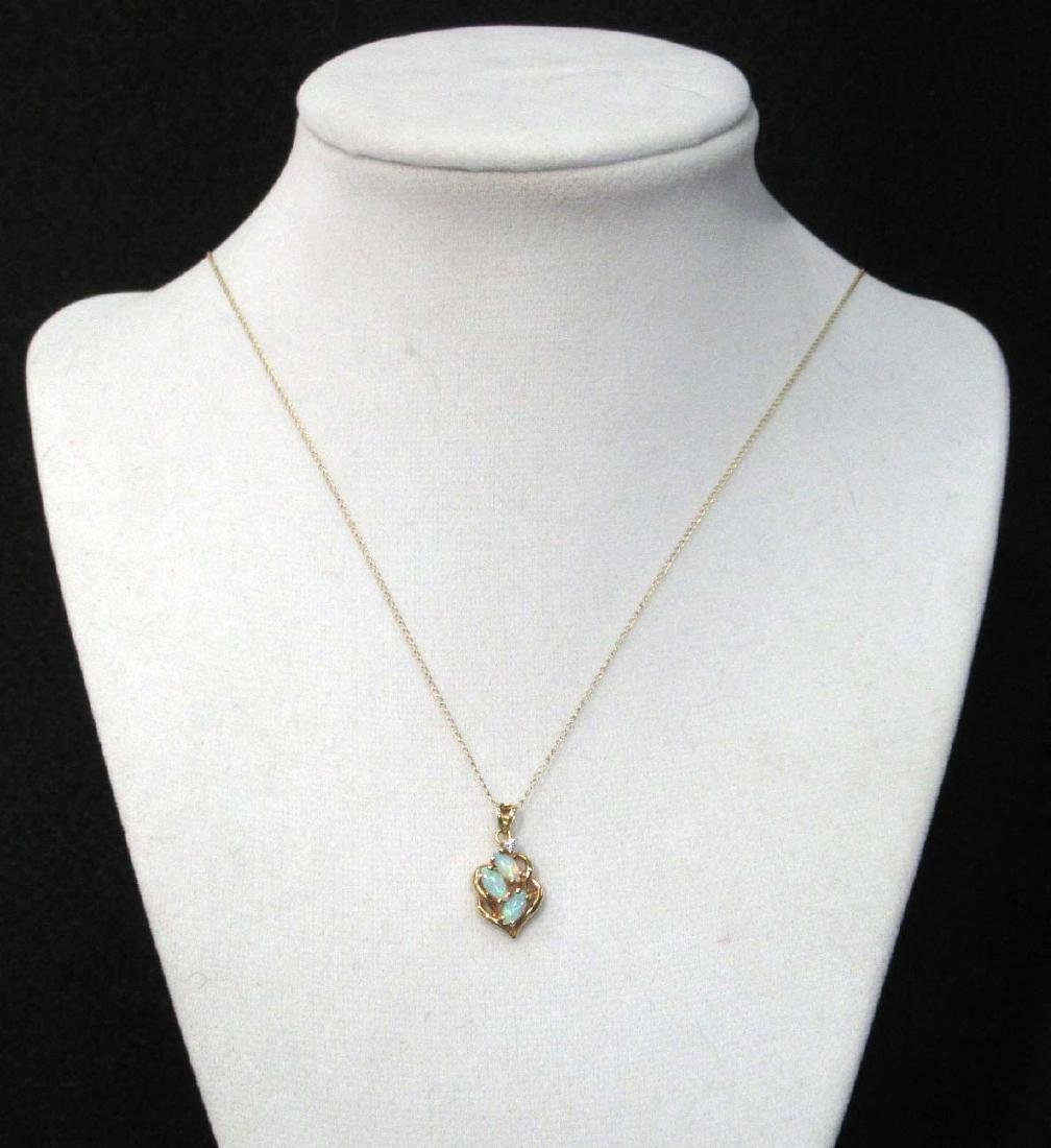14K Opal & Diamond Necklace - 2