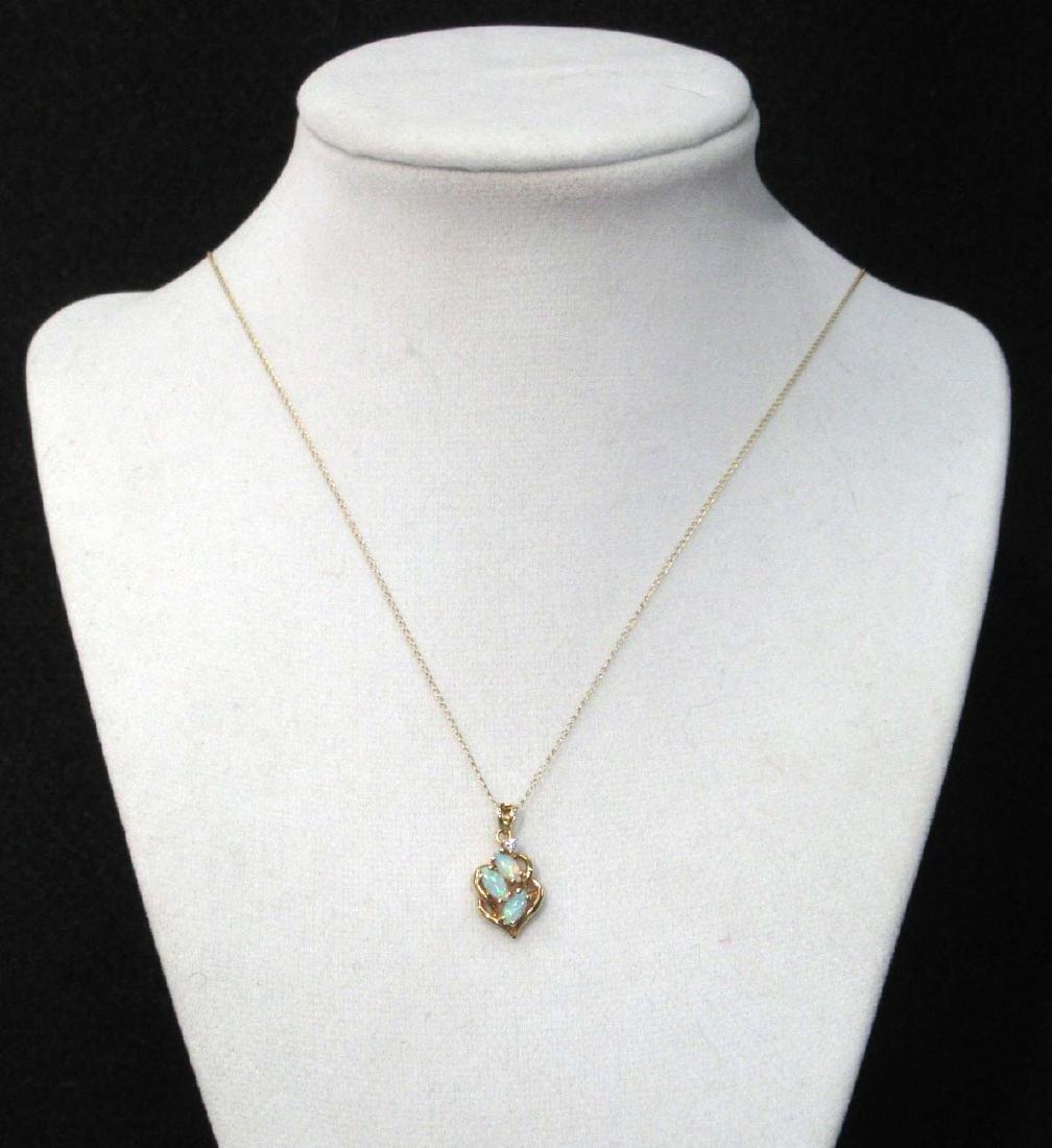 14K Opal & Diamond Necklace - 2