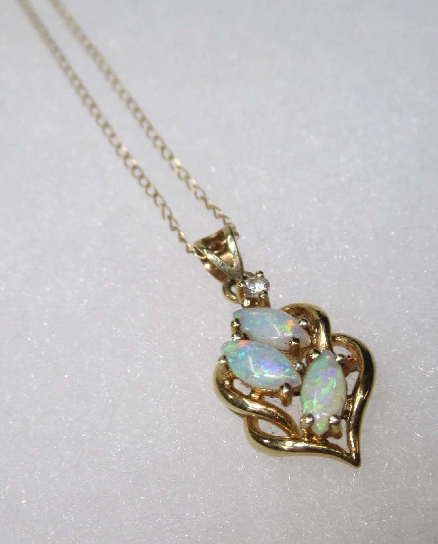 14K Opal & Diamond Necklace - 3