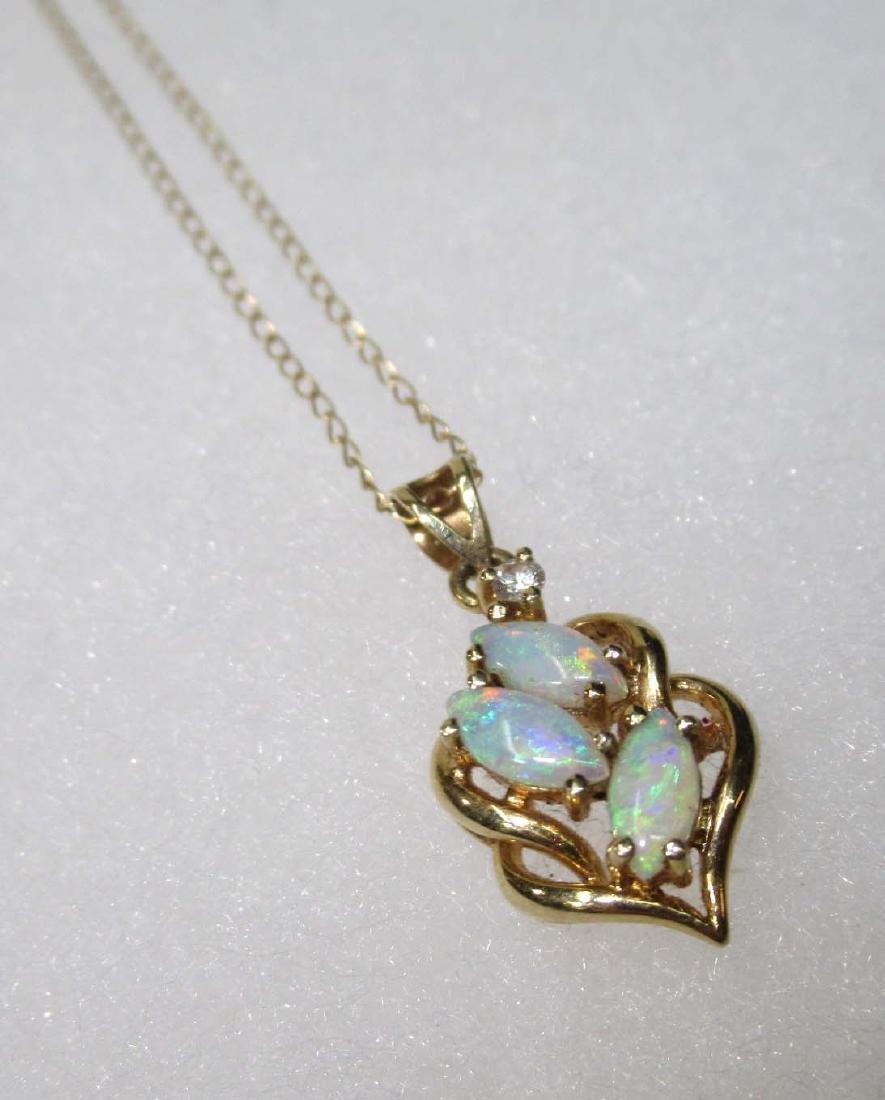14K Opal & Diamond Necklace - 3