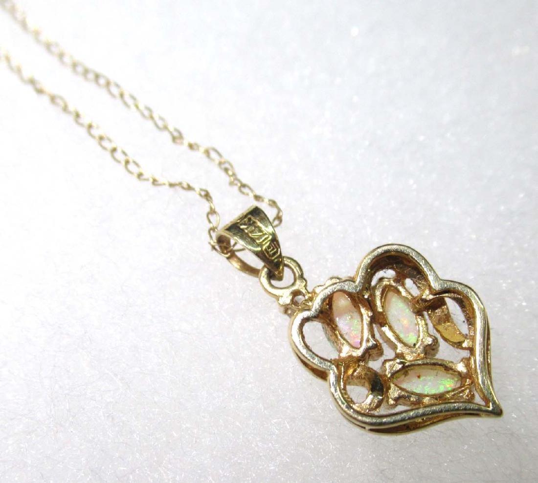 14K Opal & Diamond Necklace - 4
