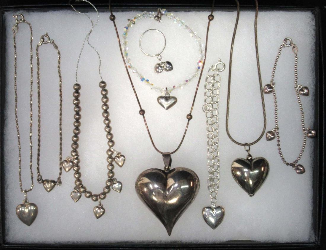 9 Sterling Heart Bracelets, Necklaces & Ring