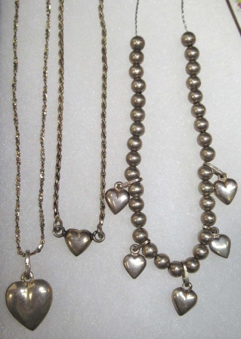 9 Sterling Heart Bracelets, Necklaces & Ring - 2