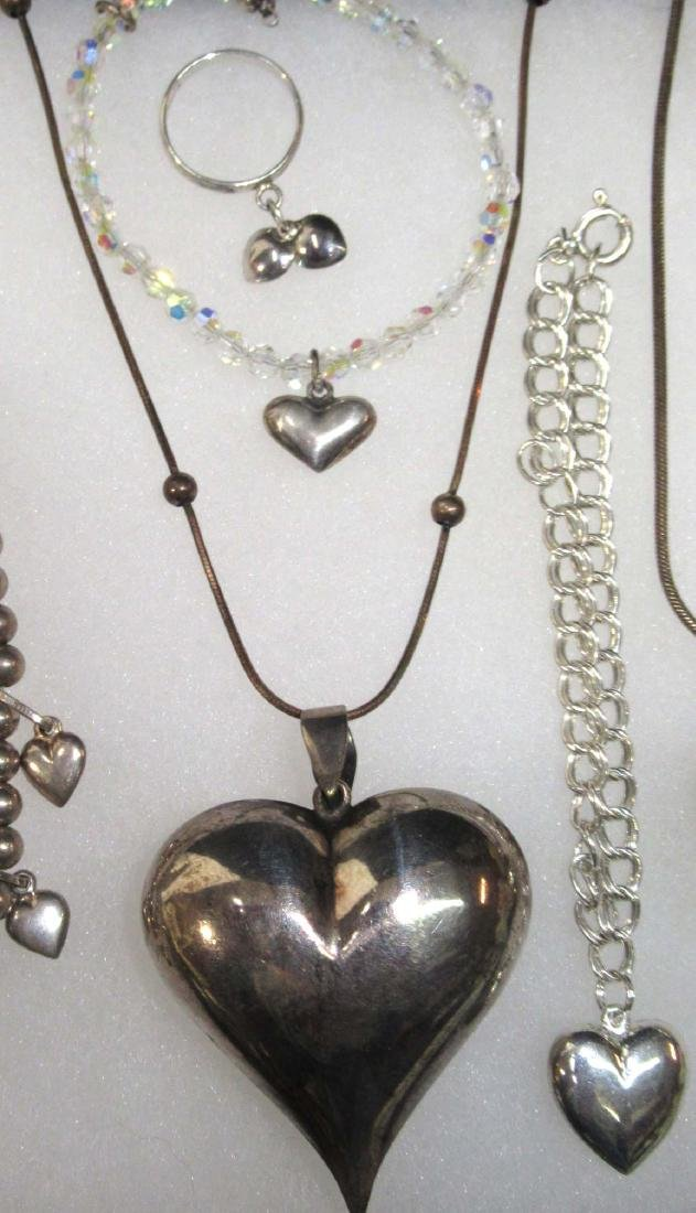 9 Sterling Heart Bracelets, Necklaces & Ring - 3