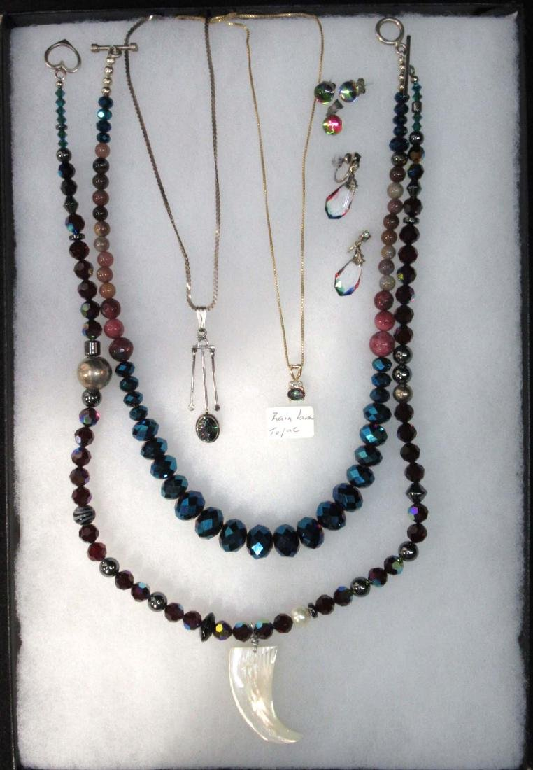 Rainbow Topaz, MOP & Iris. Bead Sterling Jewelry