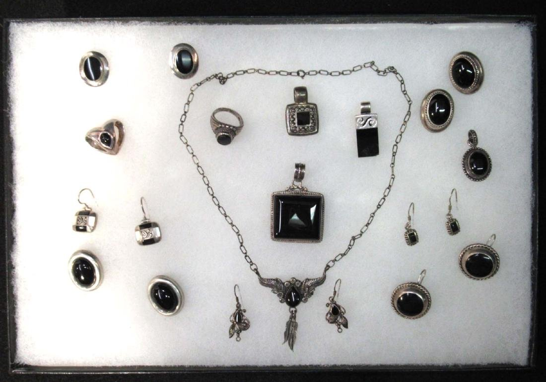 Lg. Lot of Sterling & Onyx Jewelry