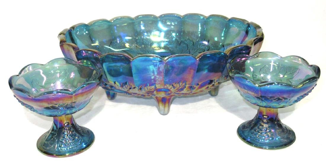 Carnival Glass Console Bowl & Candlesticks