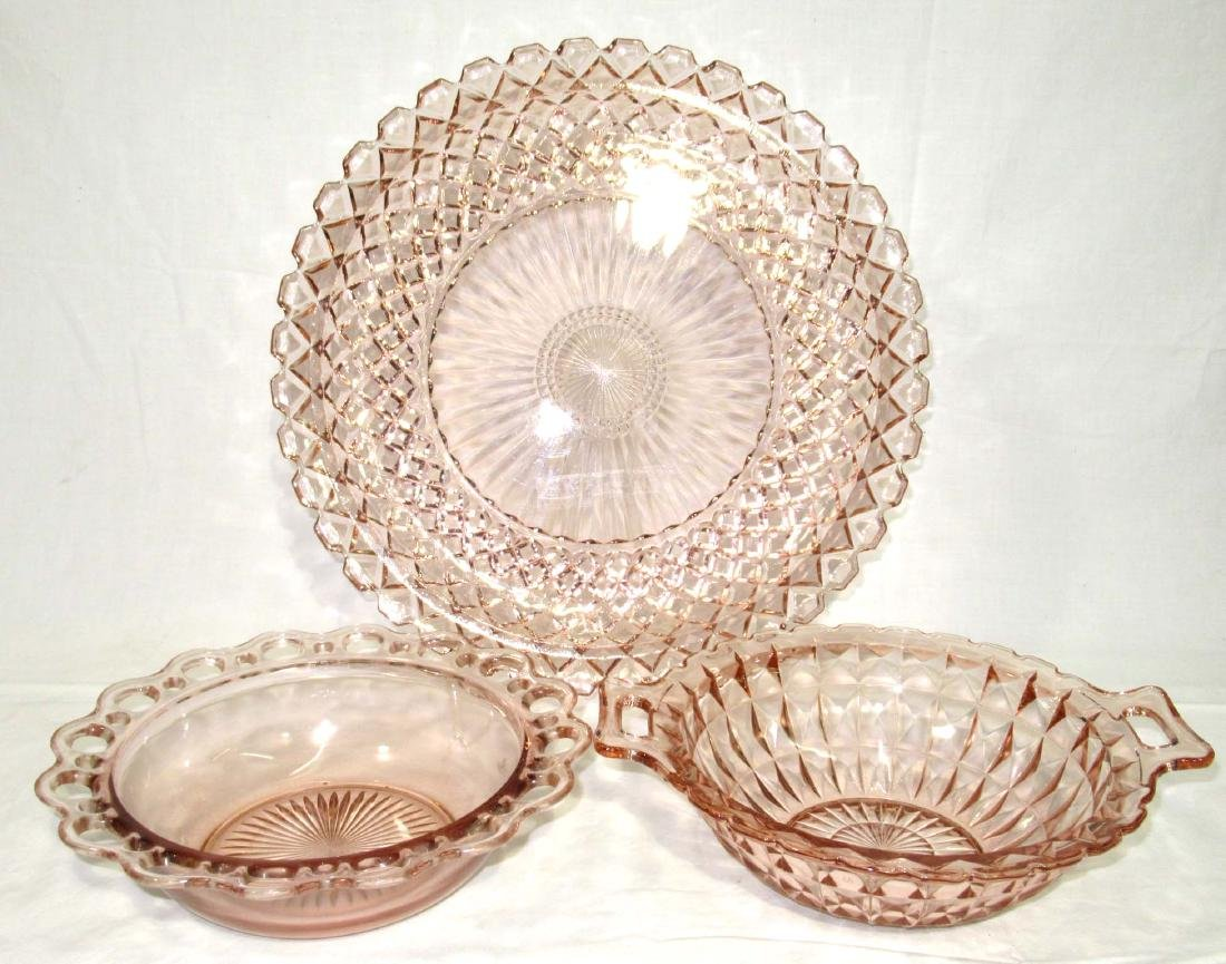3pc Pink Depression Glass