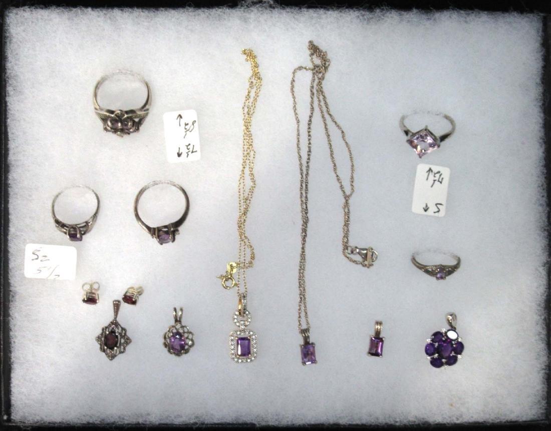 12pc Sterling & Amethyst Jewelry