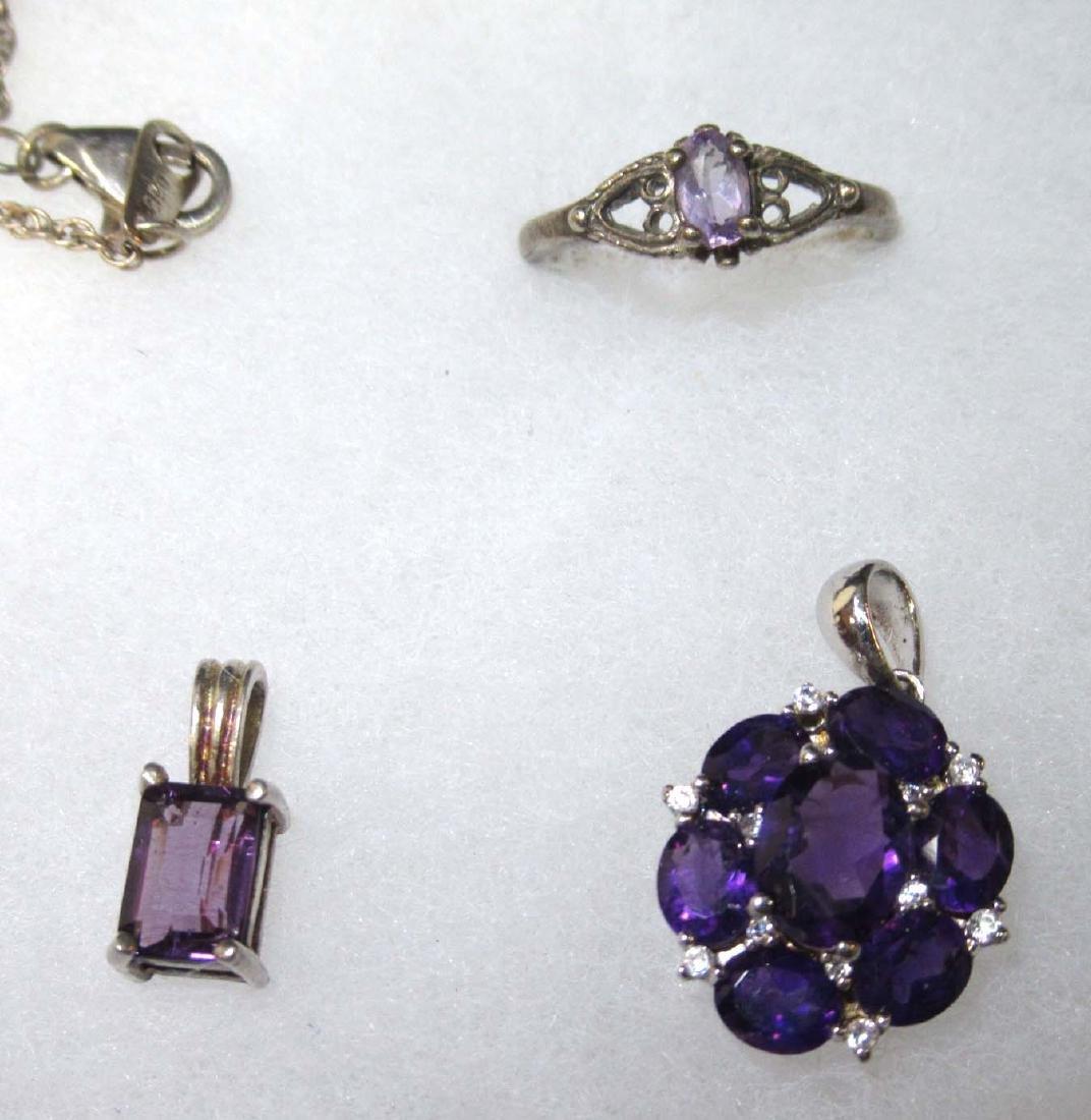 12pc Sterling & Amethyst Jewelry - 2