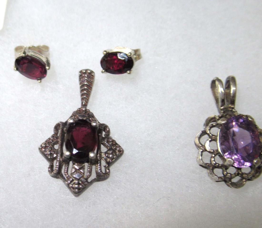 12pc Sterling & Amethyst Jewelry - 4
