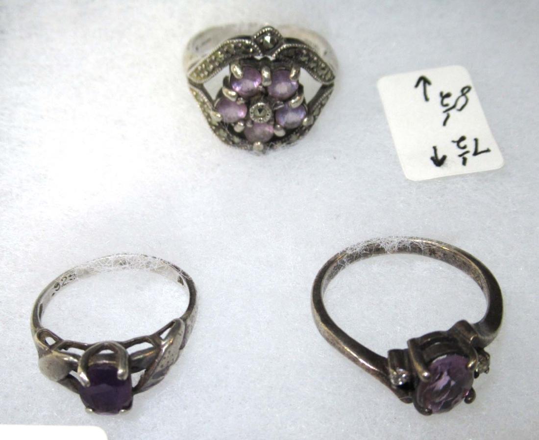 12pc Sterling & Amethyst Jewelry - 5