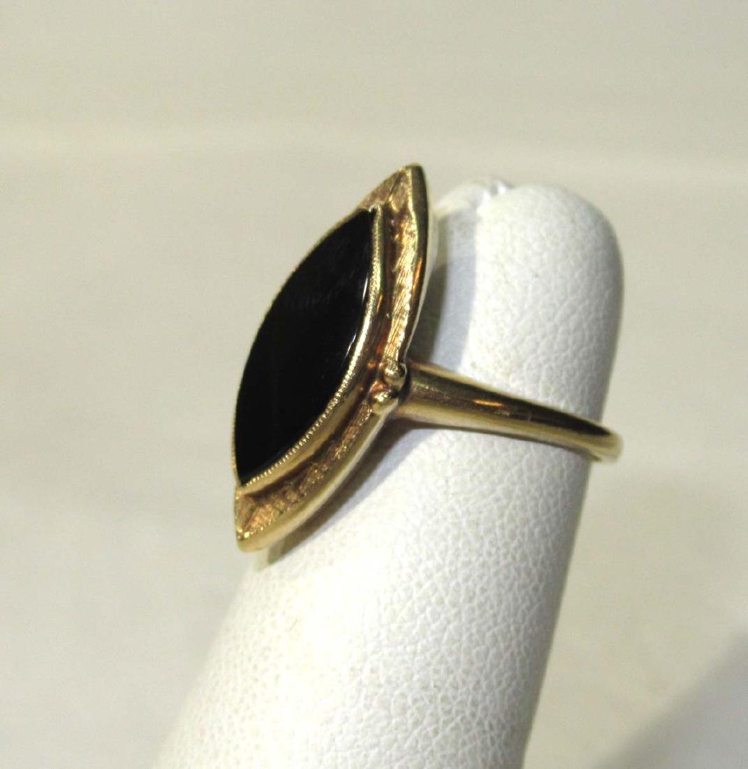 10K Victorian Onyx Ring Sz 3 1/2