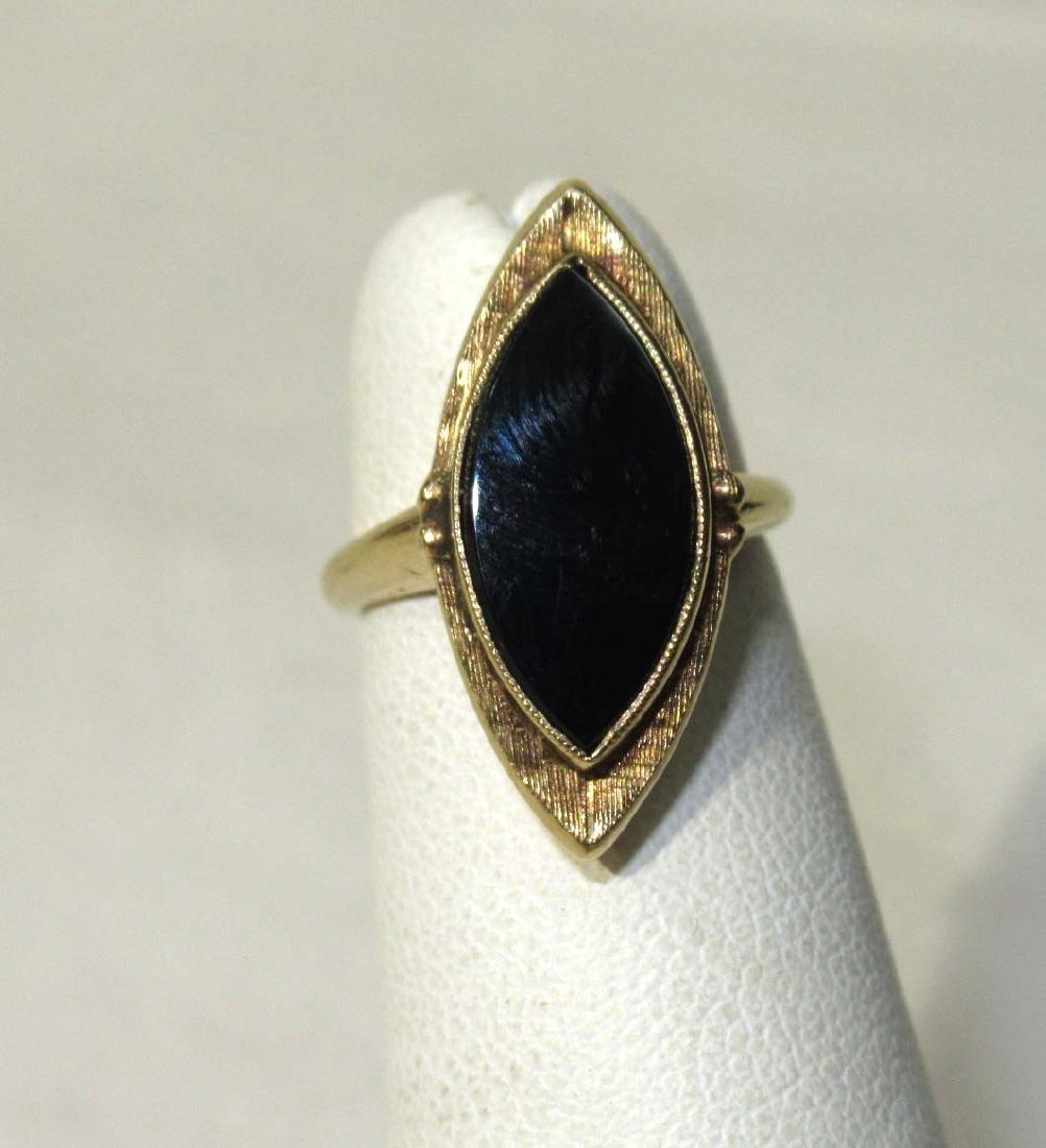 10K Victorian Onyx Ring Sz 3 1/2 - 2