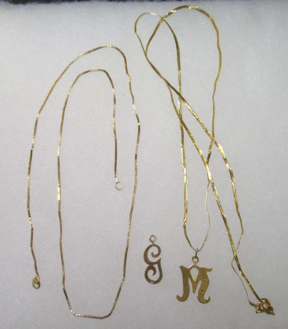 (2) 14K Chains w/ (2) 14K Pendants
