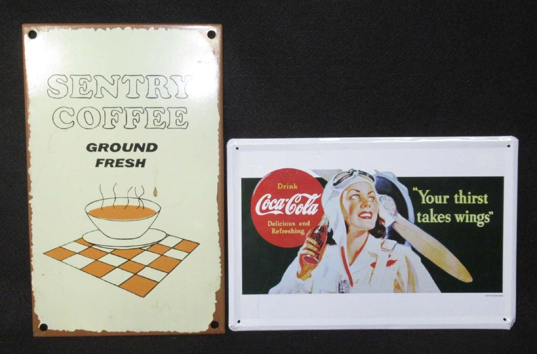 2 Modern Tin Coca Cola & Coffee Signs