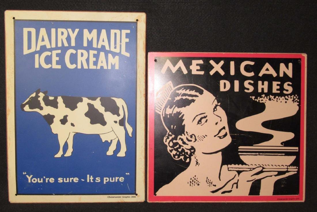 2 Modern Tin Adv. Signs
