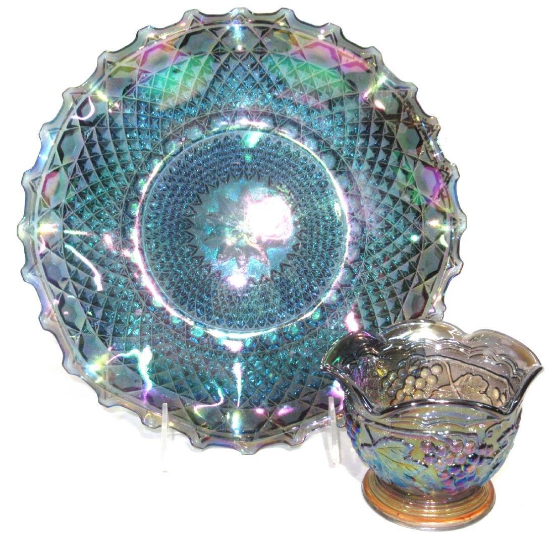 2pc Carnival Glass